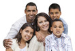 Happy Attractive Hispanic Family Portrait on White