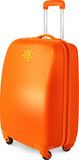 Orange vector travelling baggage suitcase, vector illustration
