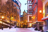 Fototapety Winter in the Old Town in Stockholm, Sweden