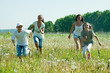 Friends running in meadow