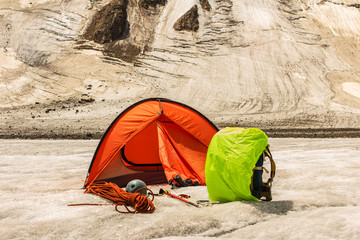 The red tent costs on glacier