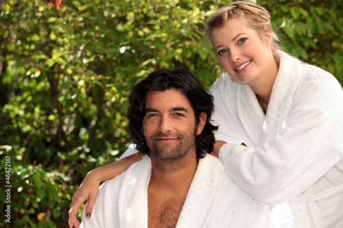 Couple in dressing gowns