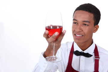 Looking glass of wine waiter