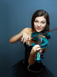girl with blue electric violin