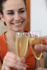 Couple toasting new house
