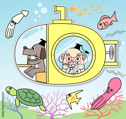 潜水艦に乗る博士と助手