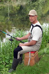 portrait of a man fishing