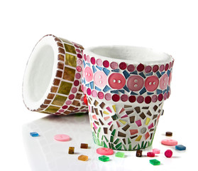 Mosaic flower pot. I made myself mosaic flower pot.