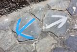 Santorin - Flèches au sol