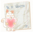 Cute love card with smiling toy cat holding heart