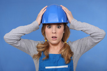 Shocked female builder