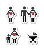 Pregnant woman vector icons set