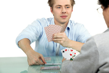 male colleagues playing cards