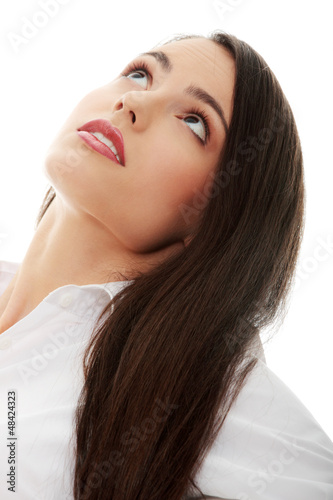 Young beautiful woman with long hairs