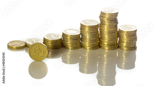 Uk pound coins stacked