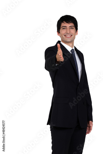 Cheerful man handshaking