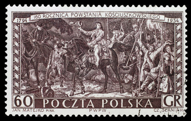POLAND, 1954 - Post stamp with Jan Metajko picture reproduction