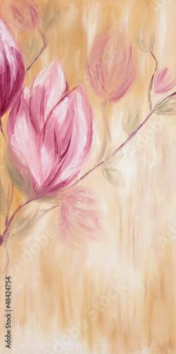 Obraz olejny z kwiatami magnolii wiosną