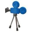 Blue movie camera isolated on white background