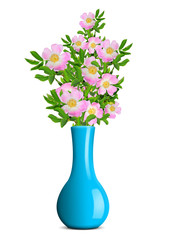 dog rose in the blue vase