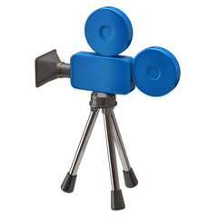 Blue movie camera isolated on white background