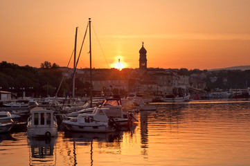 Morning sun on Krk port - Croatia