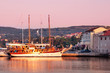 Sailing ship docked on Krk port morning light - Croatia