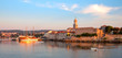 Panoramic view of Krk port and city walls from the sea - Croatia
