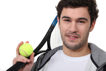 Tennis player on white background