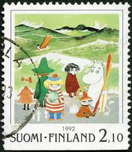 FINLANDE - 1992: affiche les caractères Moomin bande dessinée, par Tove Jansson