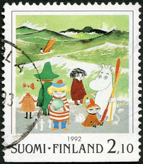 FINLAND - 1992: shows Moomin Cartoon Characters, by Tove Jansson