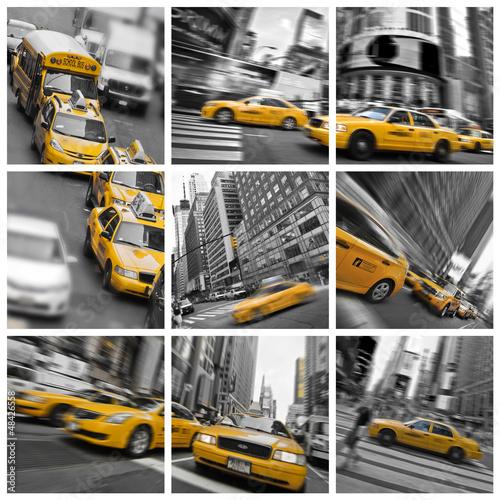 square-taxi-collage-w-nowym-jorku-usa