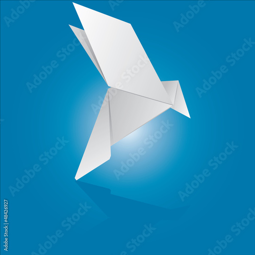Vector illustration of an origami dove