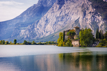 Lake Toblino and Toblino Castle. Trentino, Italy.