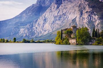 Lake Toblino and Toblino Castle. Trentino, Italy.