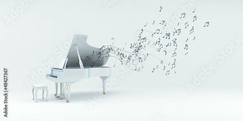 Piano mit Noten, Musik, Sound - 48427367
