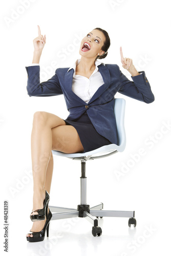 Businesswoman showing copy space