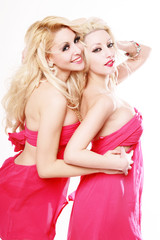 Sensual girls with pink dress