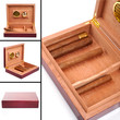 Collage of four photos of humidor with cigars and without it iso