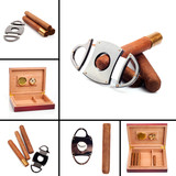 Collage of six photo's of cigars, cutter and humidor isolated on