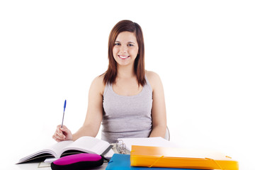 Young woman studying