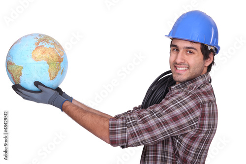 Electrician with  globe