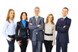 Portrait of business people standing on a white