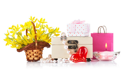 valentines day concept with gift and flowers isolated on white