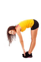 Pretty young african woman doing exercise - Fitness Concept