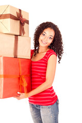Beautiful african woman with presents