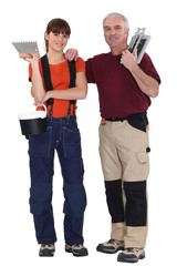 A tiler and his apprentice.