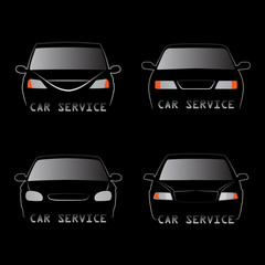 Vector illustration of various car silhouettes - front view