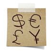 hand draw  currency symbols on note taped recycle paper