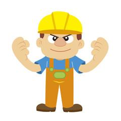 Vector illustration of a builder in yellow helmet